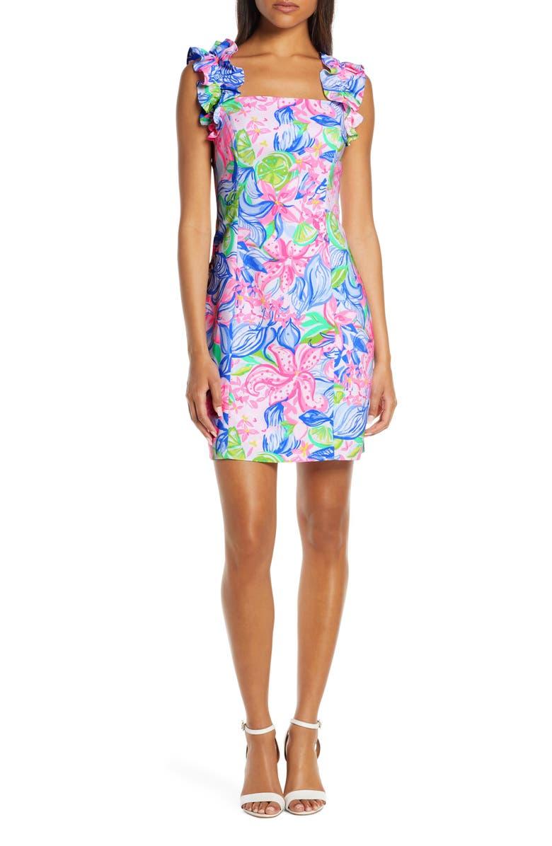 LILLY PULITZER<SUP>®</SUP> Steffi Ruffle Sheath Dress, Main, color, MULTI HAVANA COCKTAIL