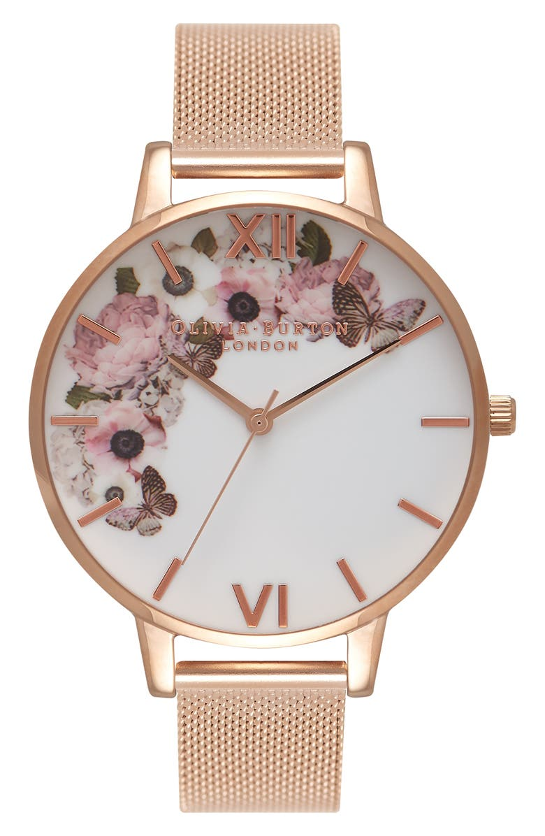 OLIVIA BURTON Signature Florals Mesh Bracelet Watch, 38mm, Main, color, 710