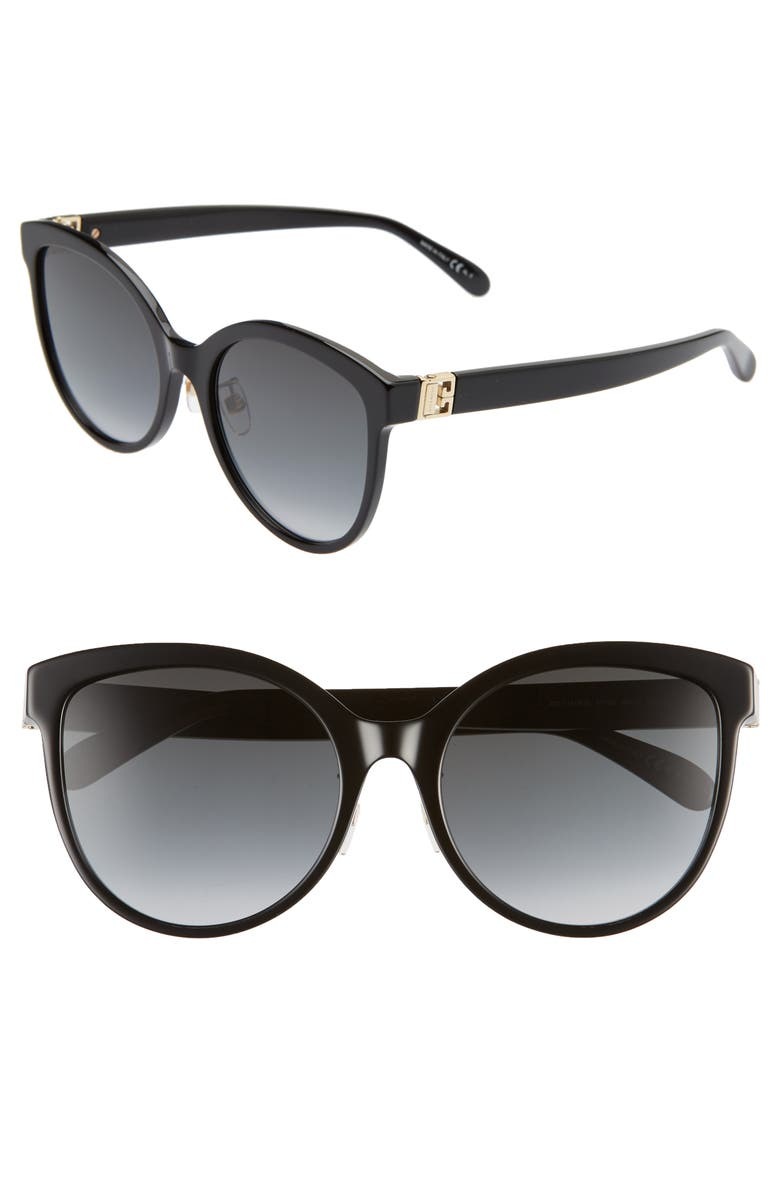 GIVENCHY 56mm Special Fit Gradient Round Sunglasses, Main, color, BLACK/ DK GREY GRADIENT