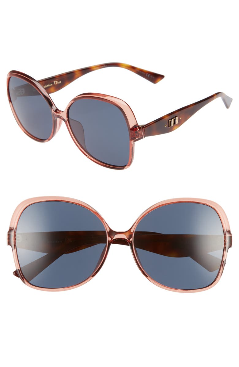 DIOR Nuance F 60mm Sunglasses, Main, color, PINK