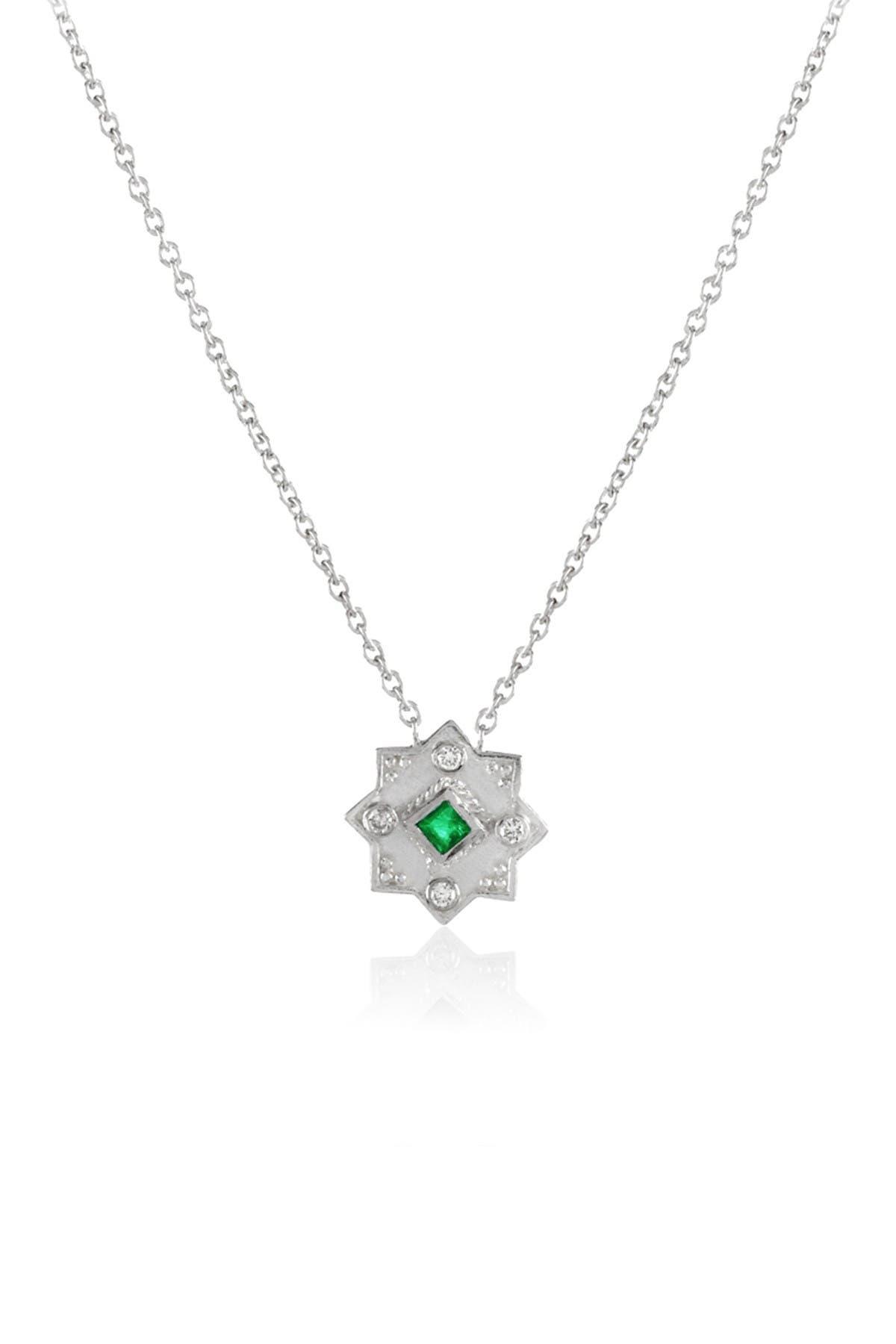 Image of LEGEND AMRAPALI SILVER Sterling Silver Heritage Star of Lakshmi Emerald & Diamond Pendant Necklace
