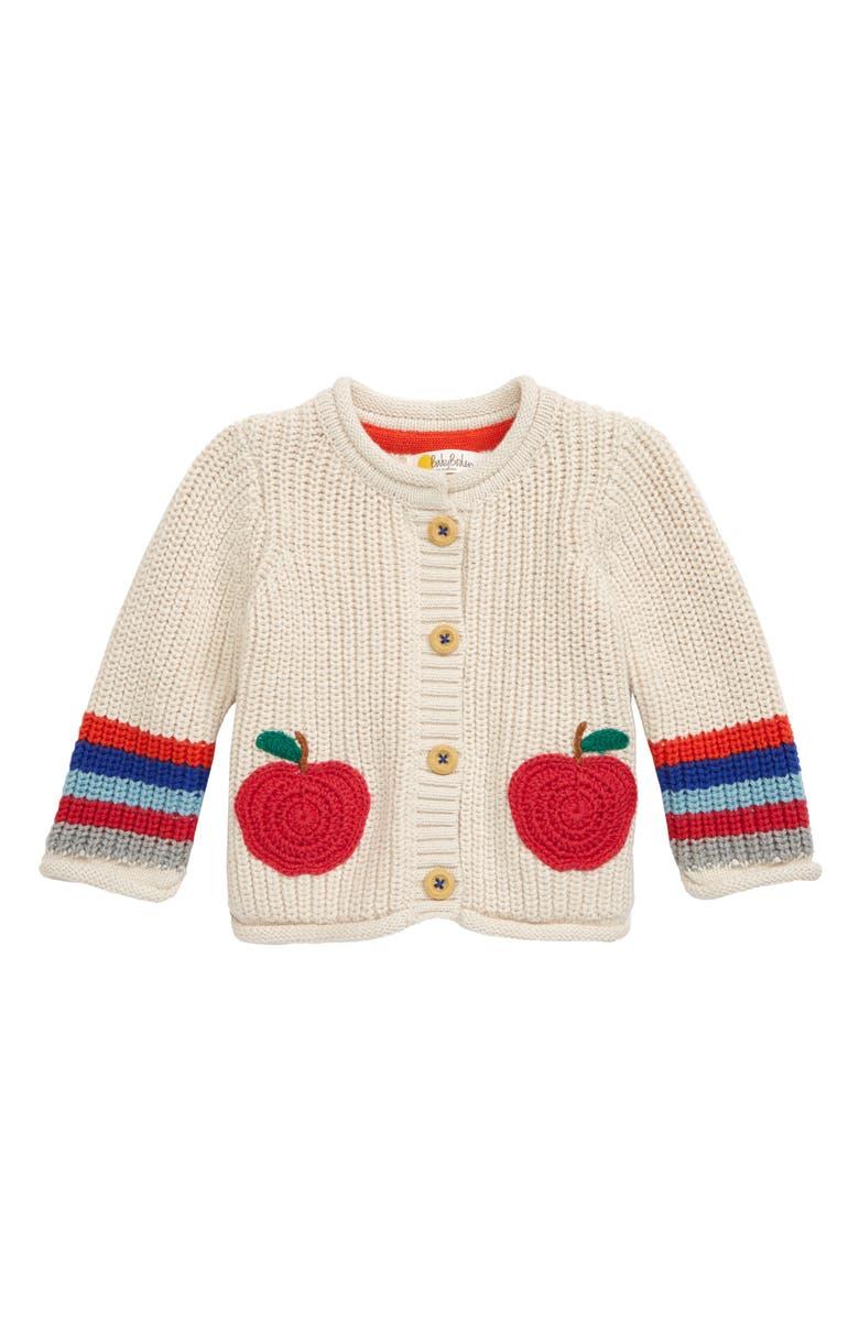 MINI BODEN Chunky Knit Cardigan, Main, color, ECRU MARL