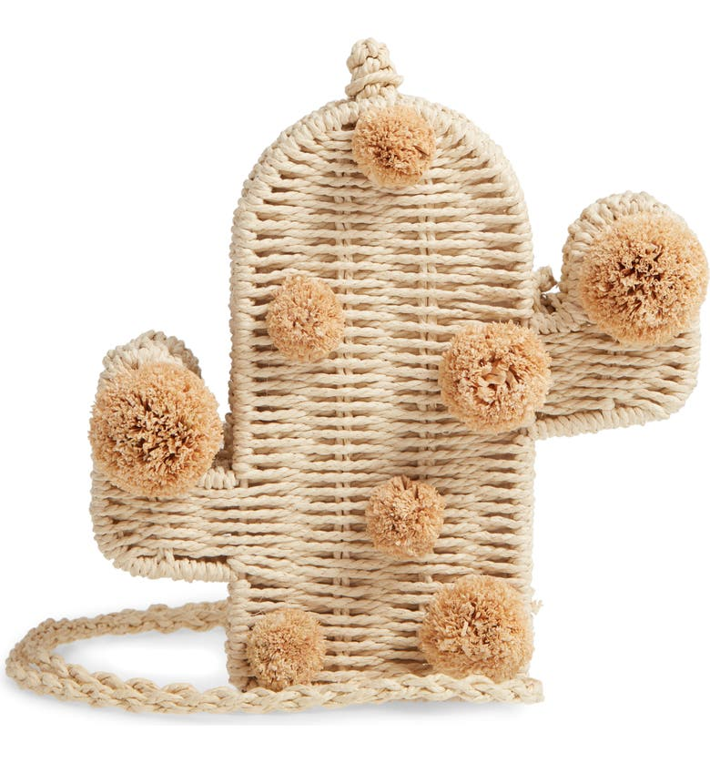 KNOTTY Cactus Straw Crossbody Bag, Main, color, NATURAL