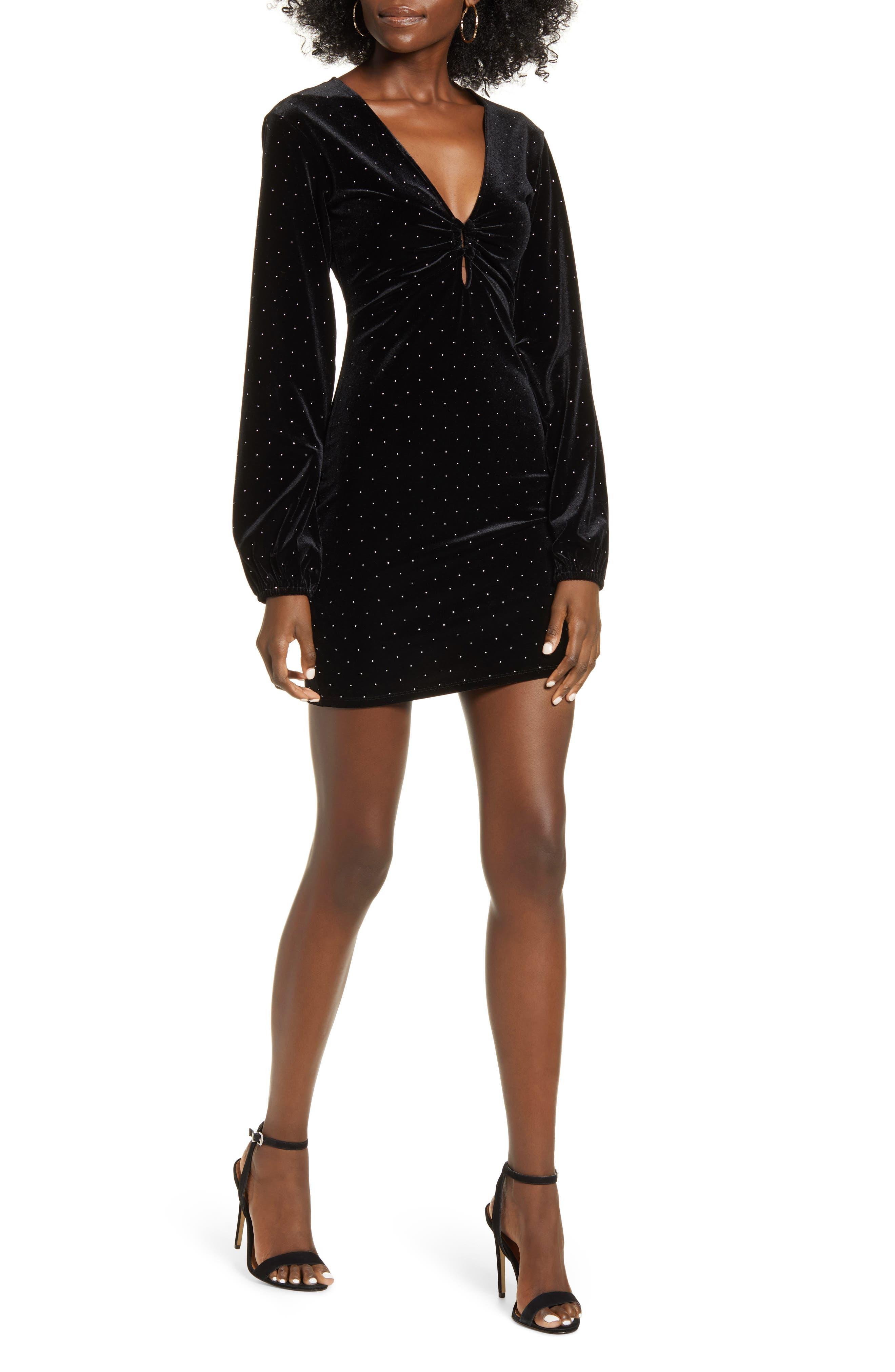 Leith Velour Long Sleeve Minidress