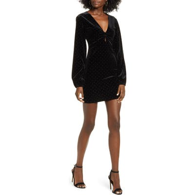 Leith Velour Long Sleeve Minidress, Black