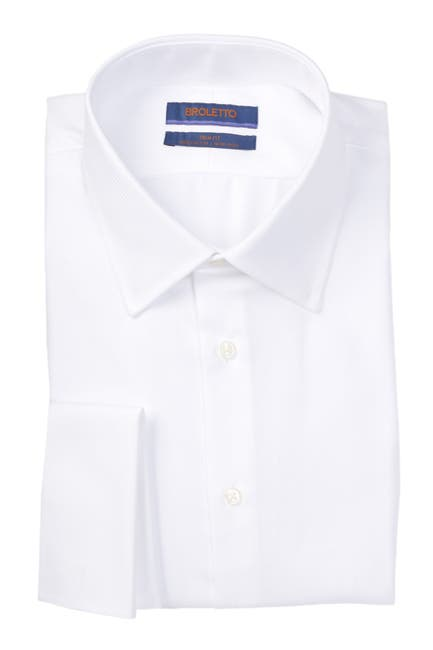 Image of BROLETTO Trim Fit Twill French Cuff Dress Shirt
