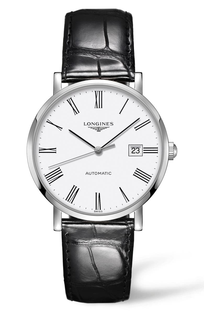 LONGINES Elegant Automatic Leather Strap Watch, 39mm, Main, color, BLACK/ WHITE/ SILVER