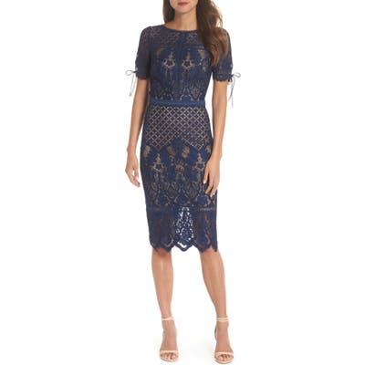 Tadashi Shoji Tie Sleeve Lace Sheath Dress, Blue