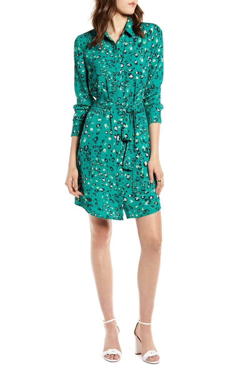 HALOGEN<SUP>®</SUP> Long Sleeve Shirtdress, Main, color, GREEN ANIMAL PRINT