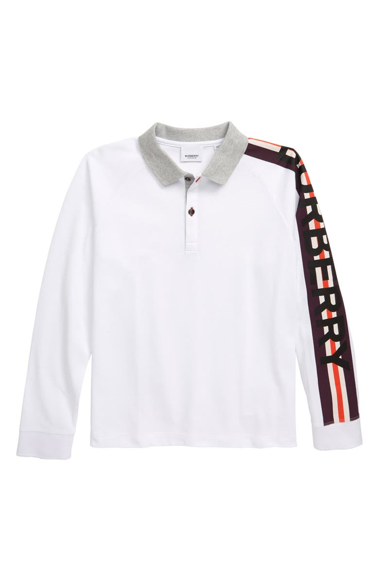 BURBERRY Duncan Piqué Cotton Polo, Main, color, WHITE