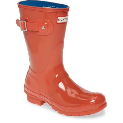 Hunter Original Short Gloss Waterproof Rain Boot, Red