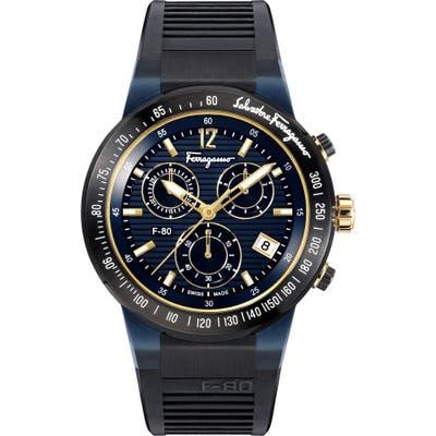 Salvatore Ferragamo F-80 Chronograph Rubber Strap Watch, 4m
