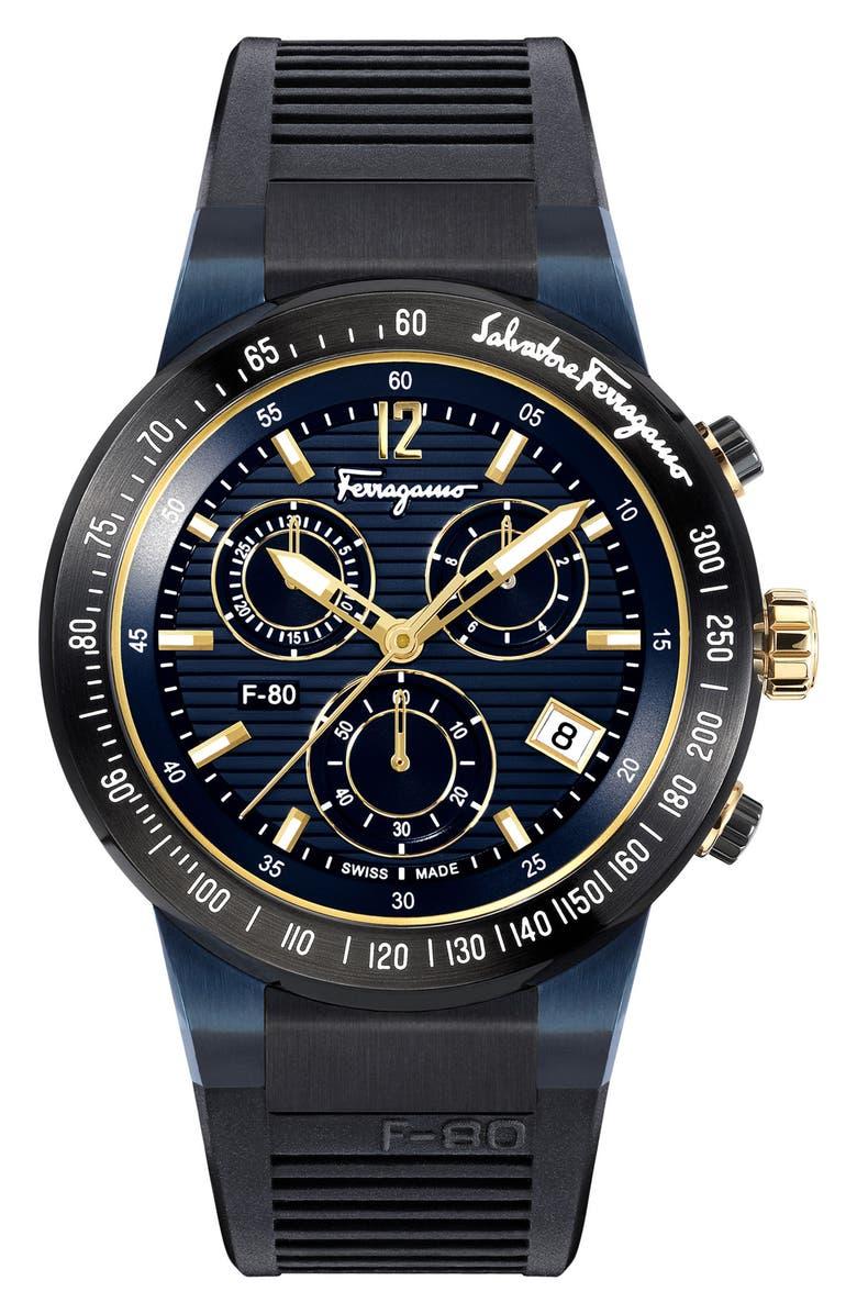 SALVATORE FERRAGAMO F-80 Chronograph Rubber Strap Watch, 44mm, Main, color, BLACK/ BLUE