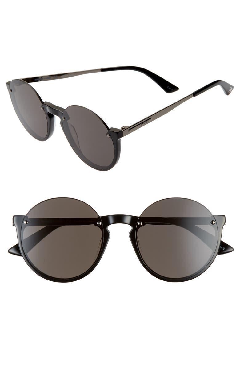 MCQ ALEXANDER MCQUEEN 53mm Semi Rimless Round Sunglasses, Main, color, 001
