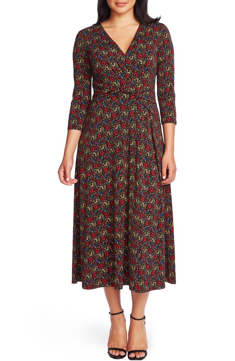 CHAUS Venetian Garden Wrap Front Dress, Main, color, RICH BLACK