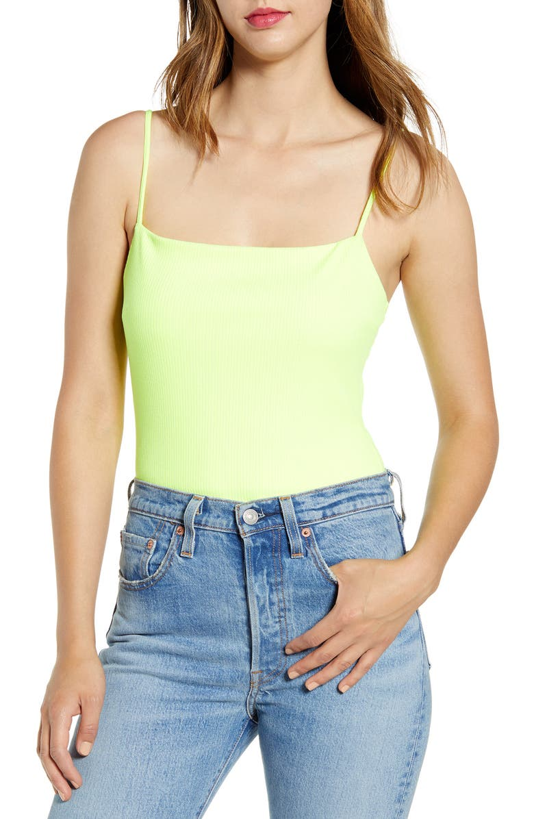ALL IN FAVOR Rib Bodysuit, Main, color, LIME PUNCH