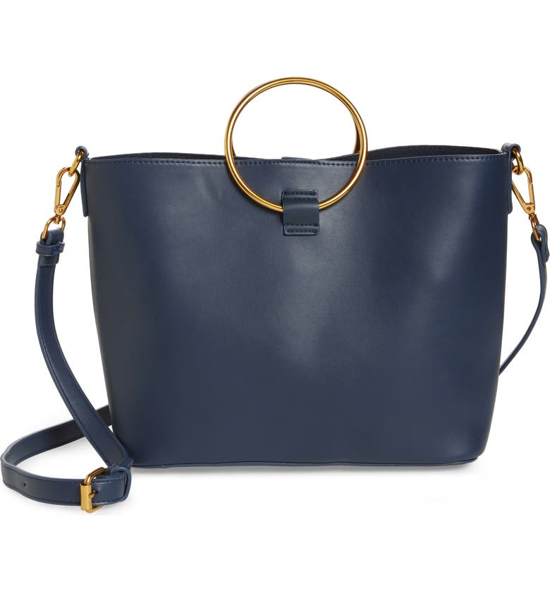 STREET LEVEL Ring Handle Faux Leather Tote & Zip Pouch, Main, color, 410