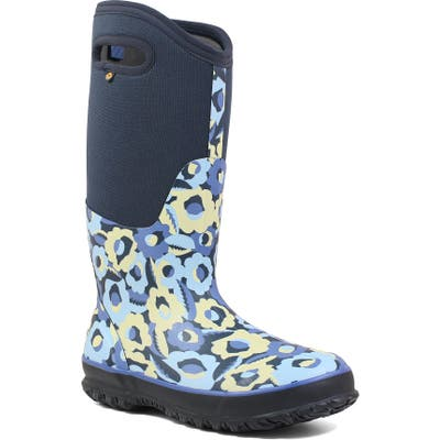 Bogs Classic Tall Flower Bites Insulated Waterproof Rain Boot, Blue