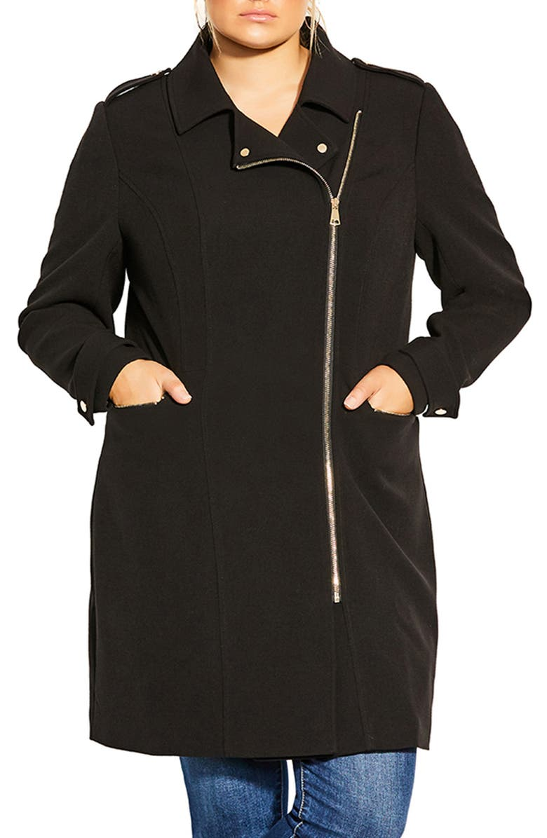 CITY CHIC Urban Chic Moto Coat, Main, color, 001