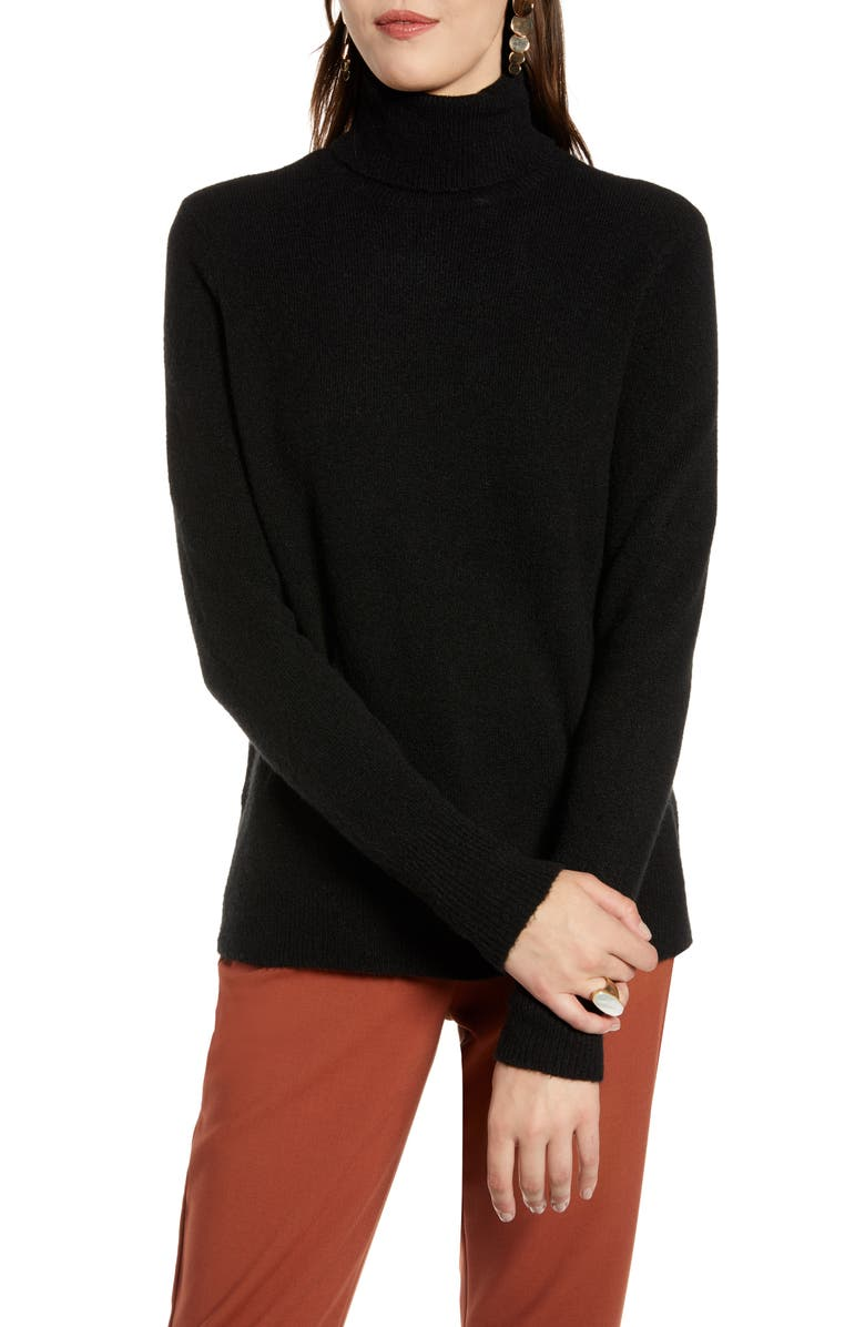 HALOGEN<SUP>®</SUP> Turtleneck Sweater, Main, color, BLACK