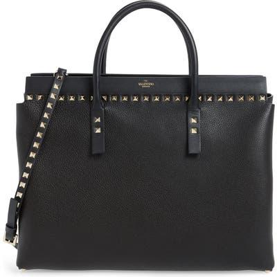 Valentino Garavani Medium Rockstud Double Handle Leather Satchel - Black