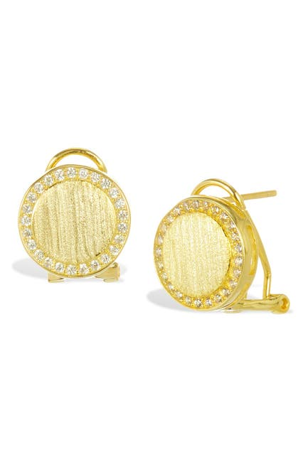 Image of Savvy Cie 18K Gold Vermeil Satin Finish CZ Halo Earrings