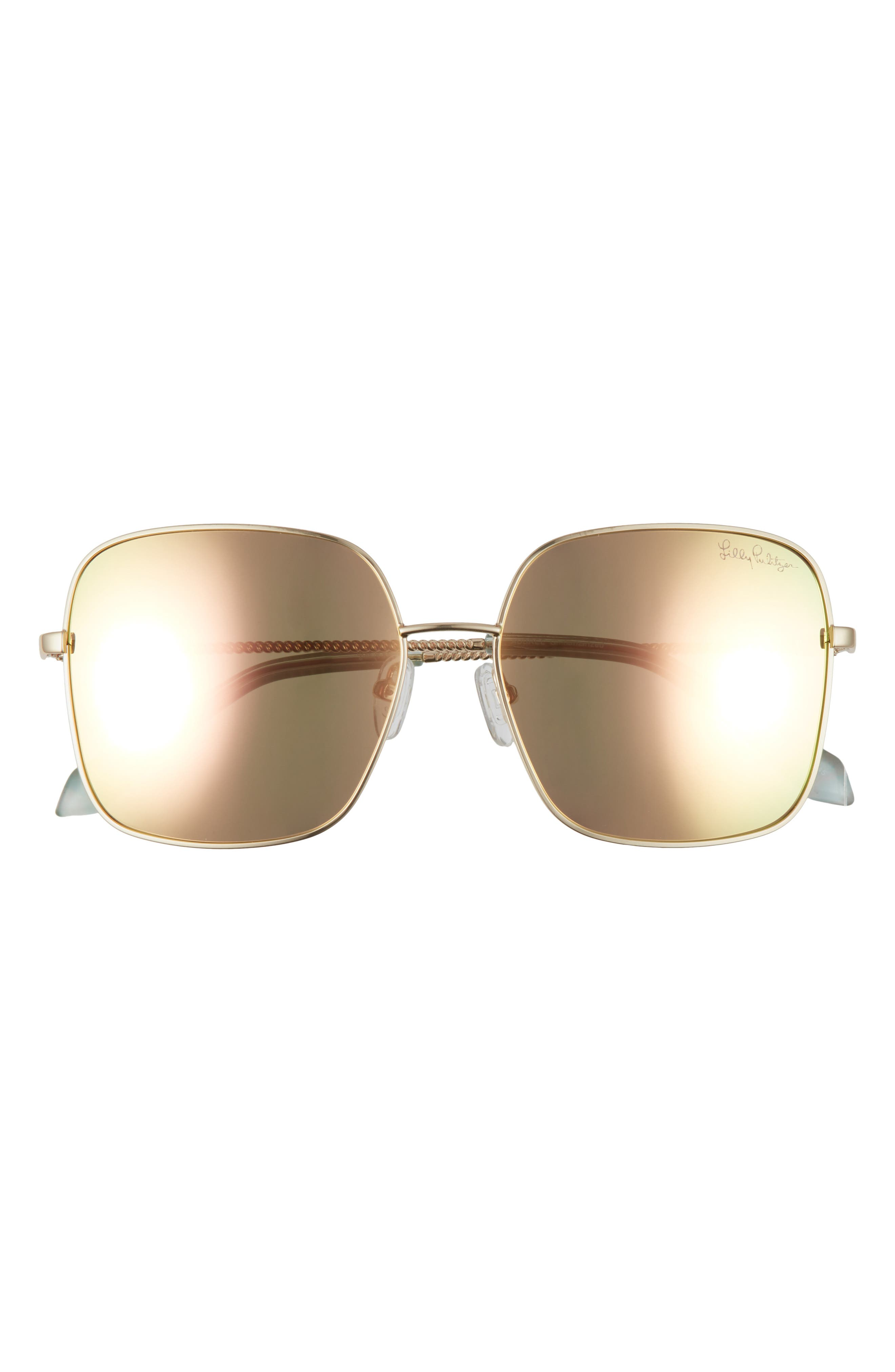 Glare-reducing polarized lenses with a mirrored finish add suave style and utility to these bold square sunglasses. Style Name: Lilly Pulitzer Aubree 56mm Polarized Square Sunglasses. Style Number: 6104395. Available in stores.