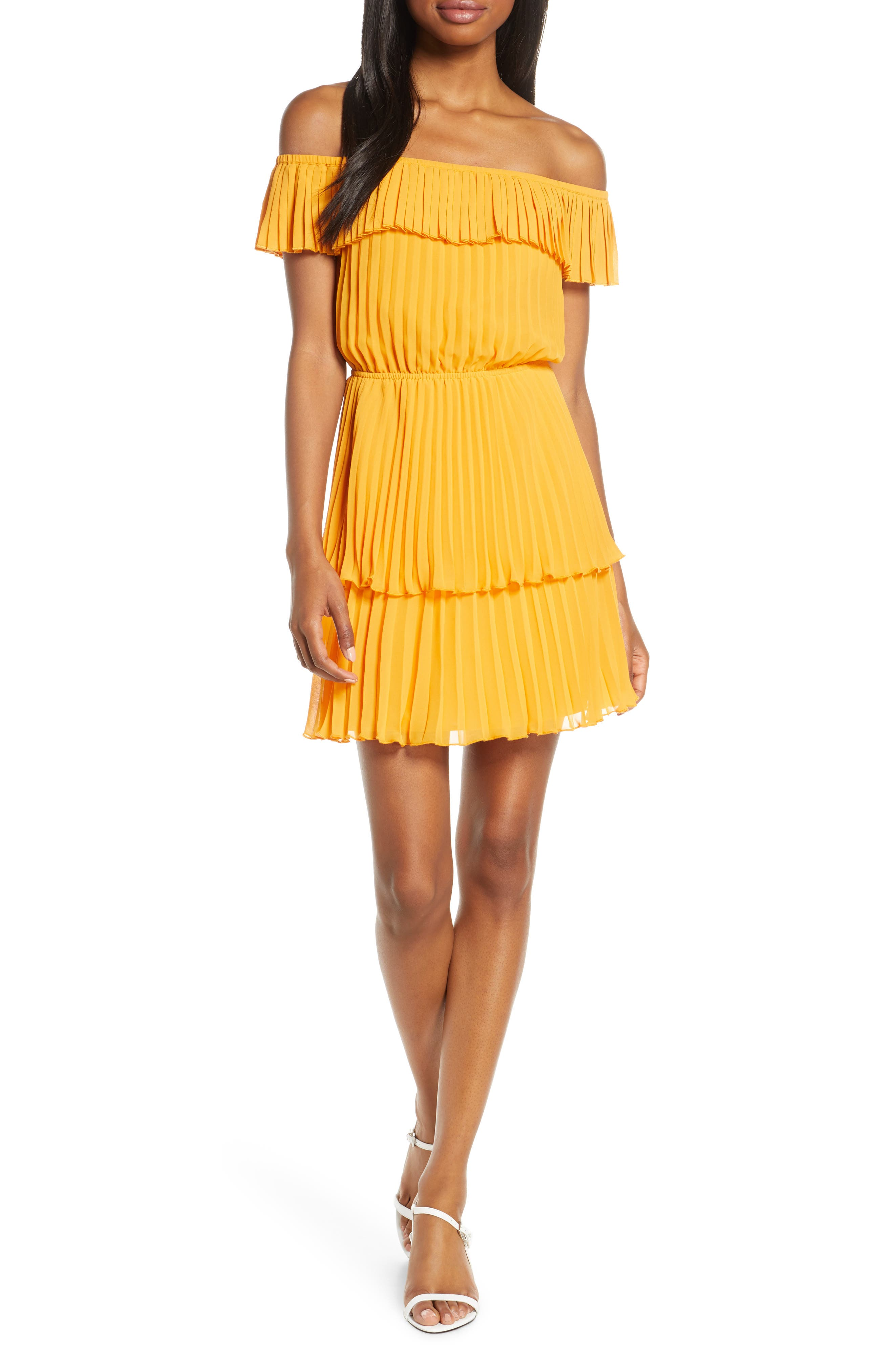 Ali & Jay Head In The Clouds Off The Shoulder Pleated Minidress, Yellow