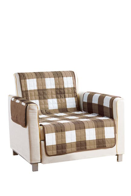 Image of Duck River Textile Taupe/Chocolate Alba Reversible Waterproof Microfiber Chair Cover