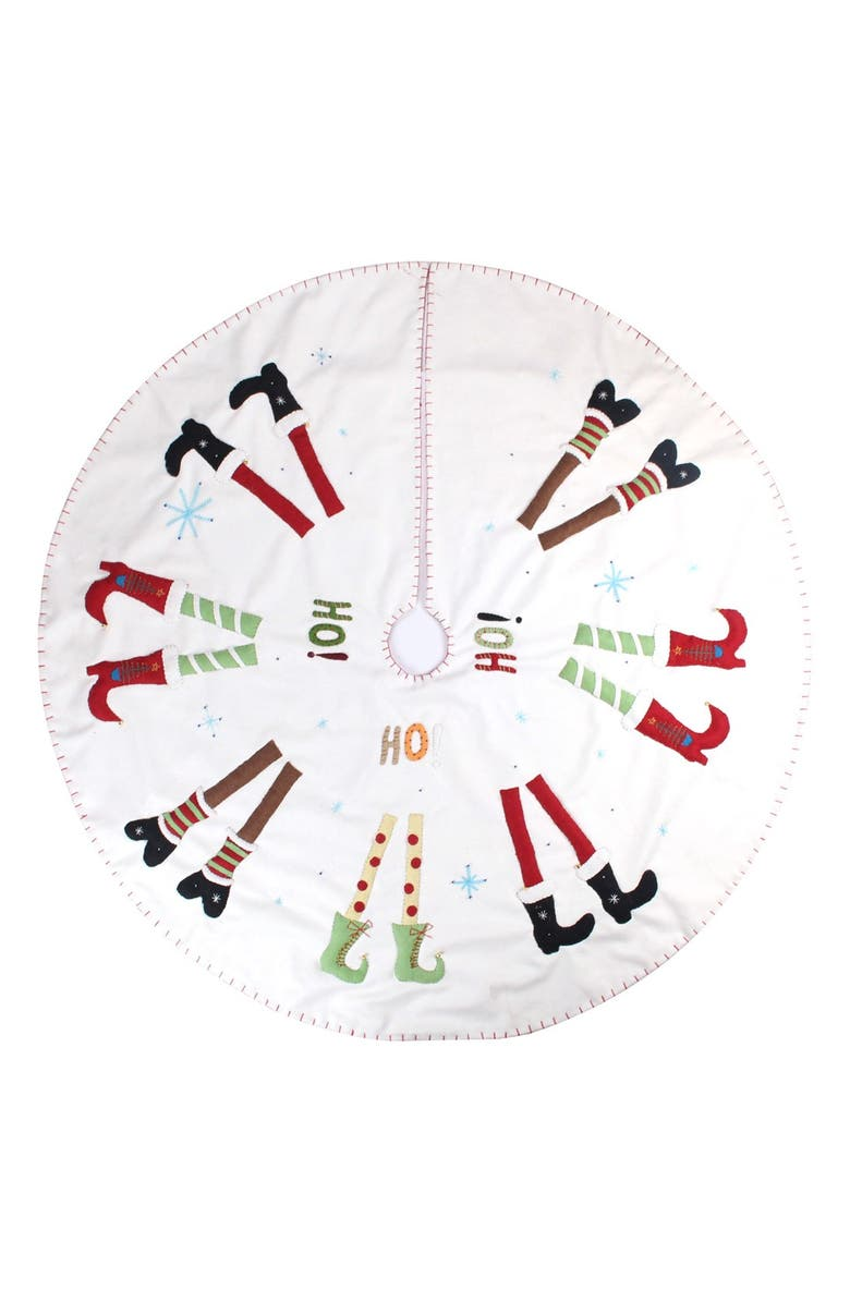 NEW WORLD ARTS Cute Shoes Christmas Tree Skirt, Main, color, CREAM MULTI