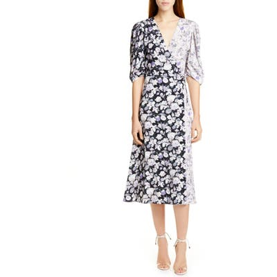 Amur Nalla Two-Tone Floral Midi Wrap Dress, Blue