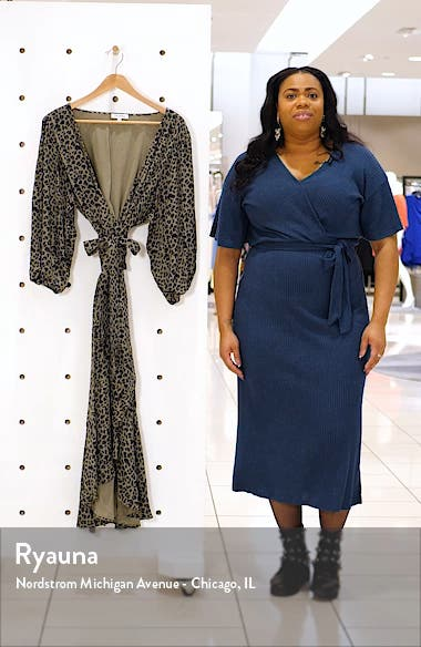 The Wrap Body Leopard Print Midi Dress, sales video thumbnail
