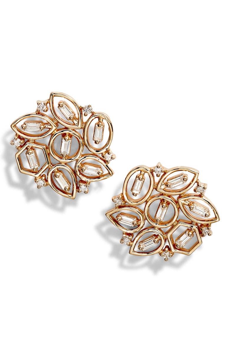 DANA REBECCA DESIGNS Brielle Rose Flower Diamond Stud Earrings, Main, color, YELLOW GOLD