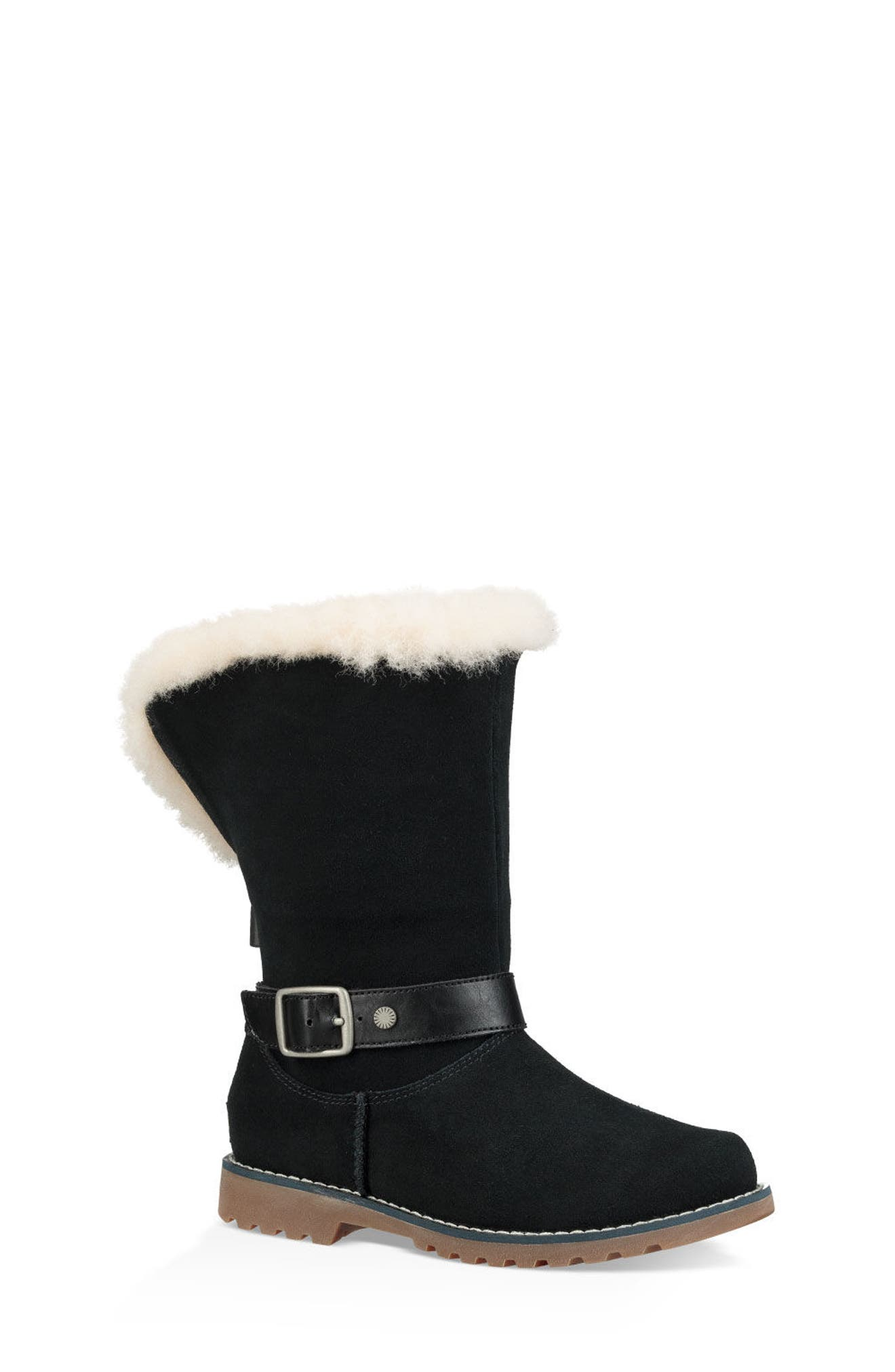 ,                             Nessa Genuine Shearling Boot,                             Main thumbnail 1, color,                             BLACK