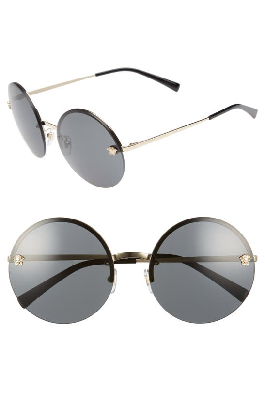 Versace Rimless Round Monochromatic Sunglasses, Gold/black In Pale Gold Solid