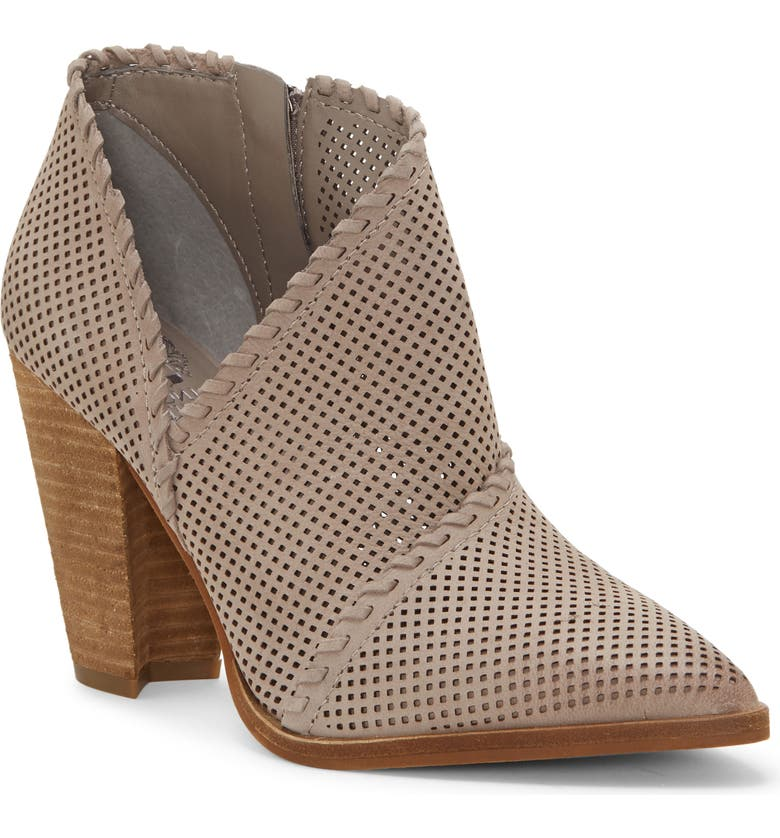 VINCE CAMUTO Lamorna Perforated Pointy Toe Bootie, Main, color, ELEPHANT LEATHER