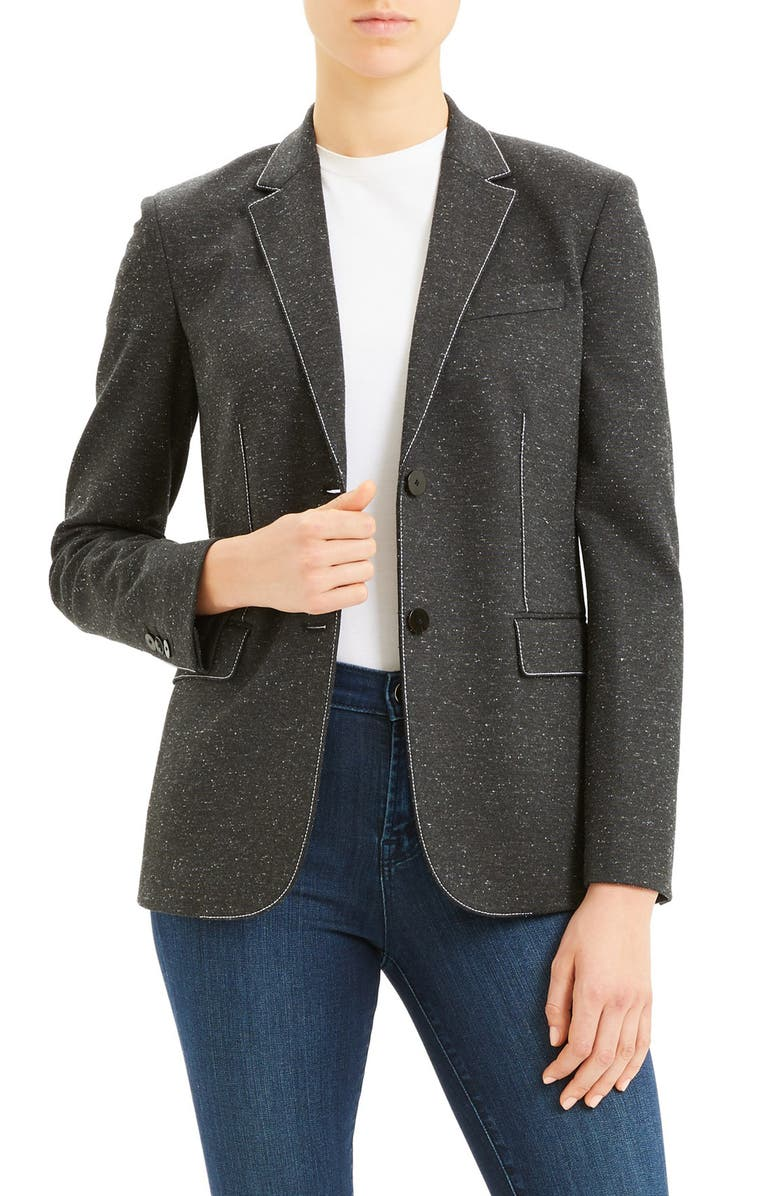 THEORY Classic Topstitched Blazer, Main, color, 020