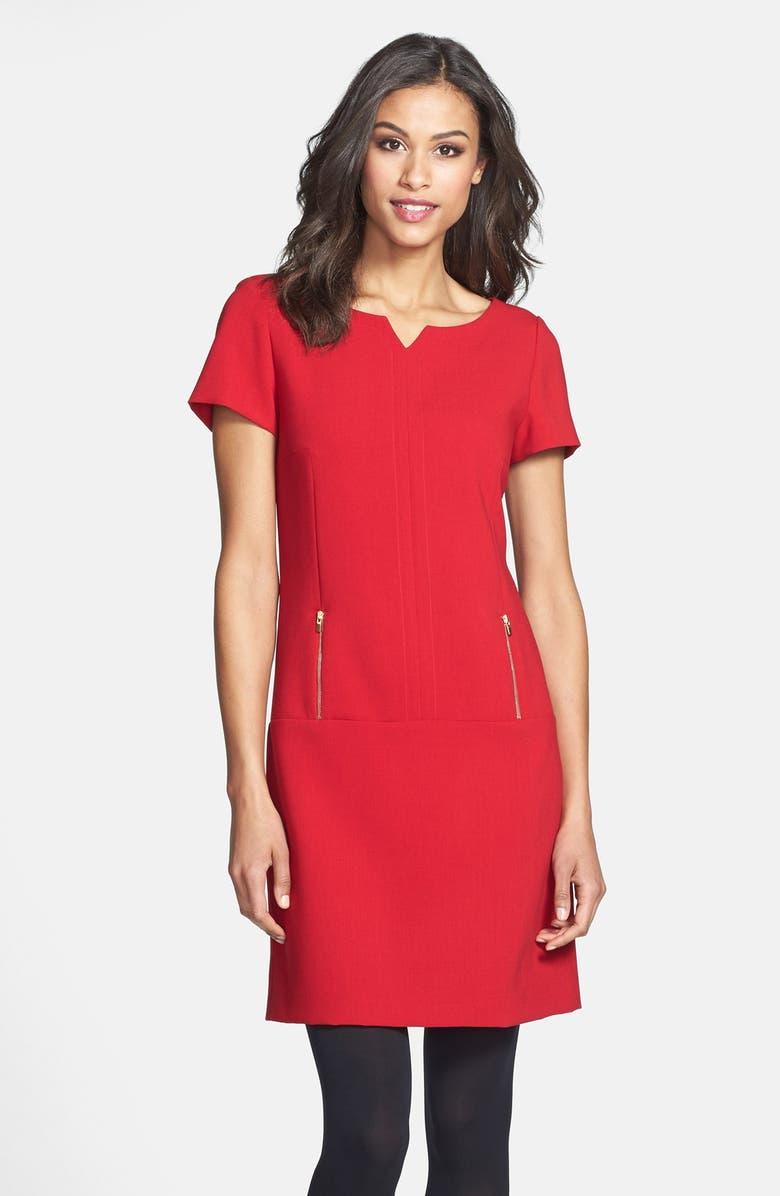 TAHARI Short Sleeve Double Woven Shift Dress, Main, color, 600