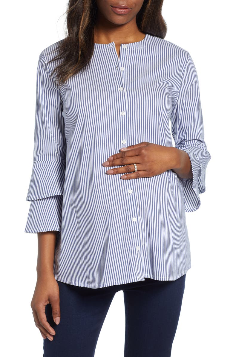 ISABELLA OLIVER Casey Maternity Shirt, Main, color, NAVY/ WHITE STRIPE