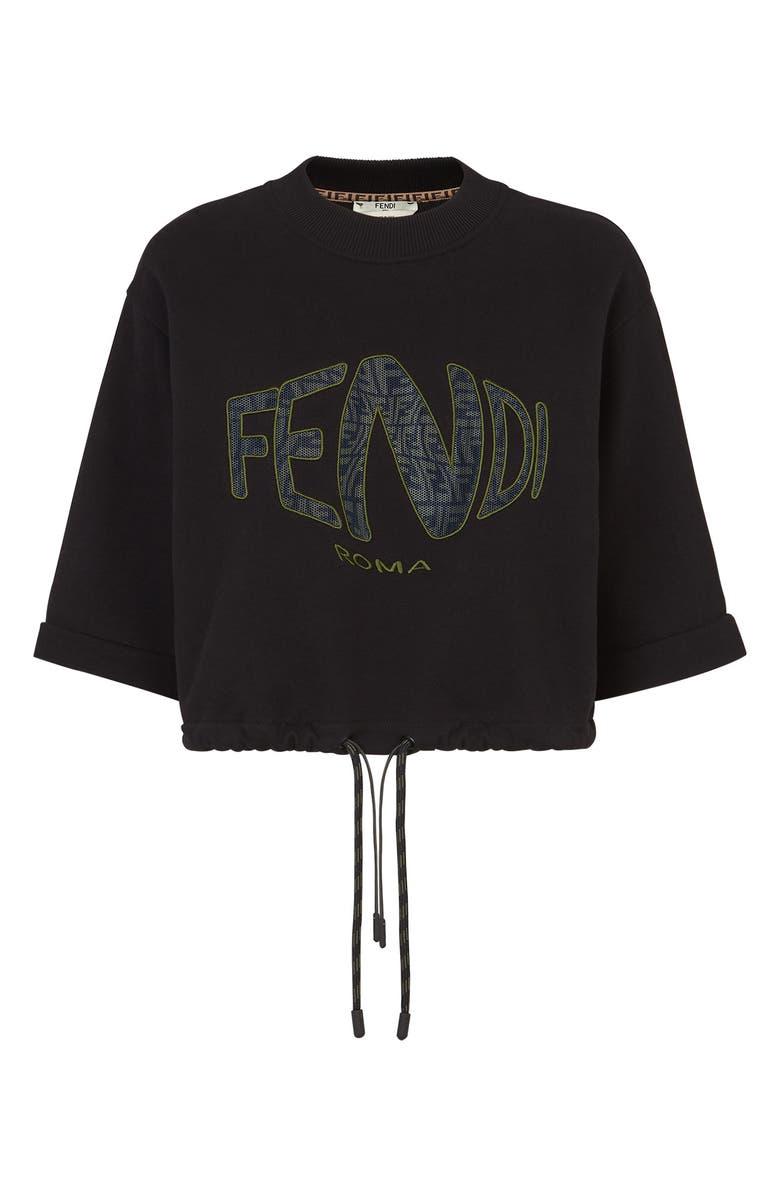 FENDI x Sarah Coleman Fisheye Logo Embroidered Crop Sweatshirt, Main, color, BLACK
