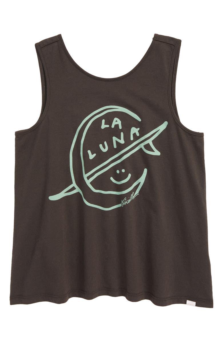 O'NEILL La Luna Screenprint Tank Top, Main, color, WASHEDBLK