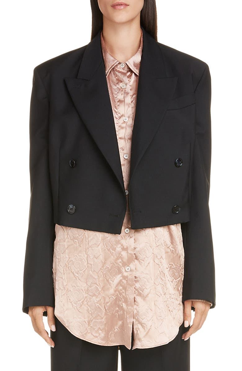 ACNE STUDIOS Josie Crop Wool & Mohair Blazer, Main, color, BLACK