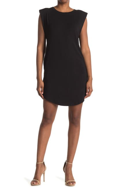 Image of Laundry By Shelli Segal Shoulder Pad Sleeveless T-Shirt Dress