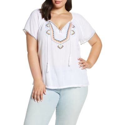 Plus Size Lucky Brand Embroidered Peasant Shirt, White