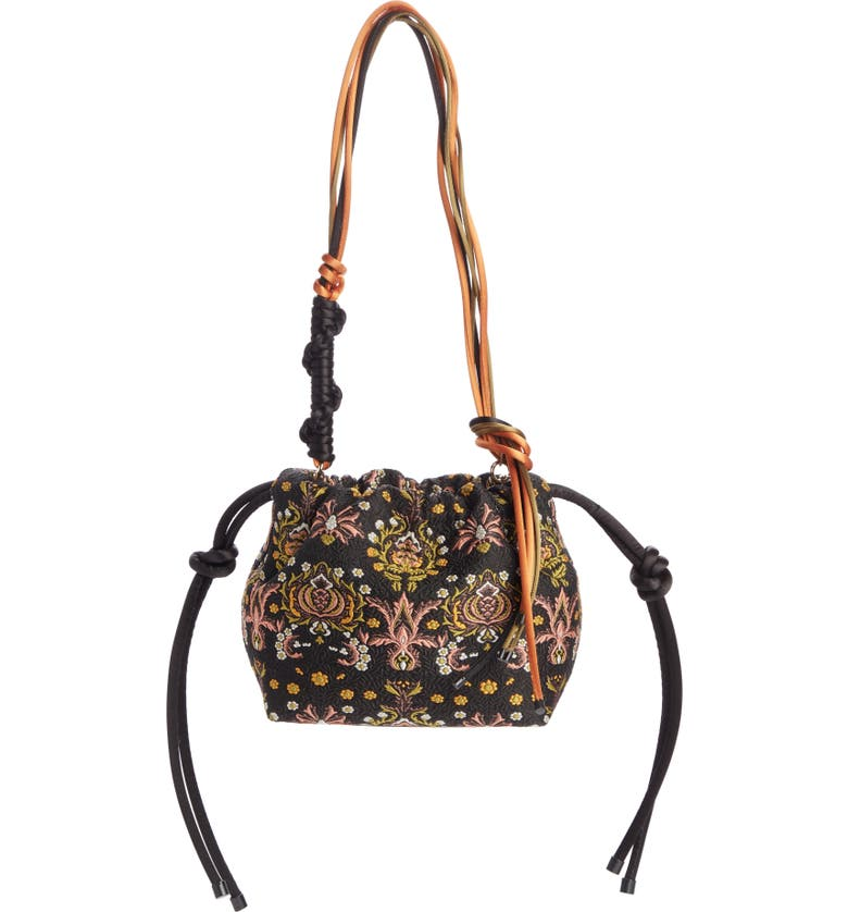 DRIES VAN NOTEN Small Jacquard & Leather Shoulder Bag, Main, color, BLACK