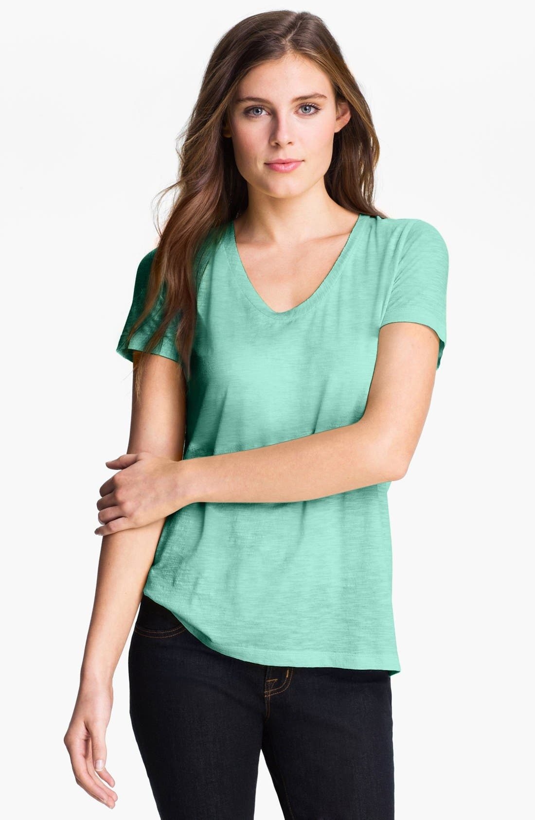 ,                             Relaxed Slub Knit U-Neck Tee,                             Main thumbnail 178, color,                             301