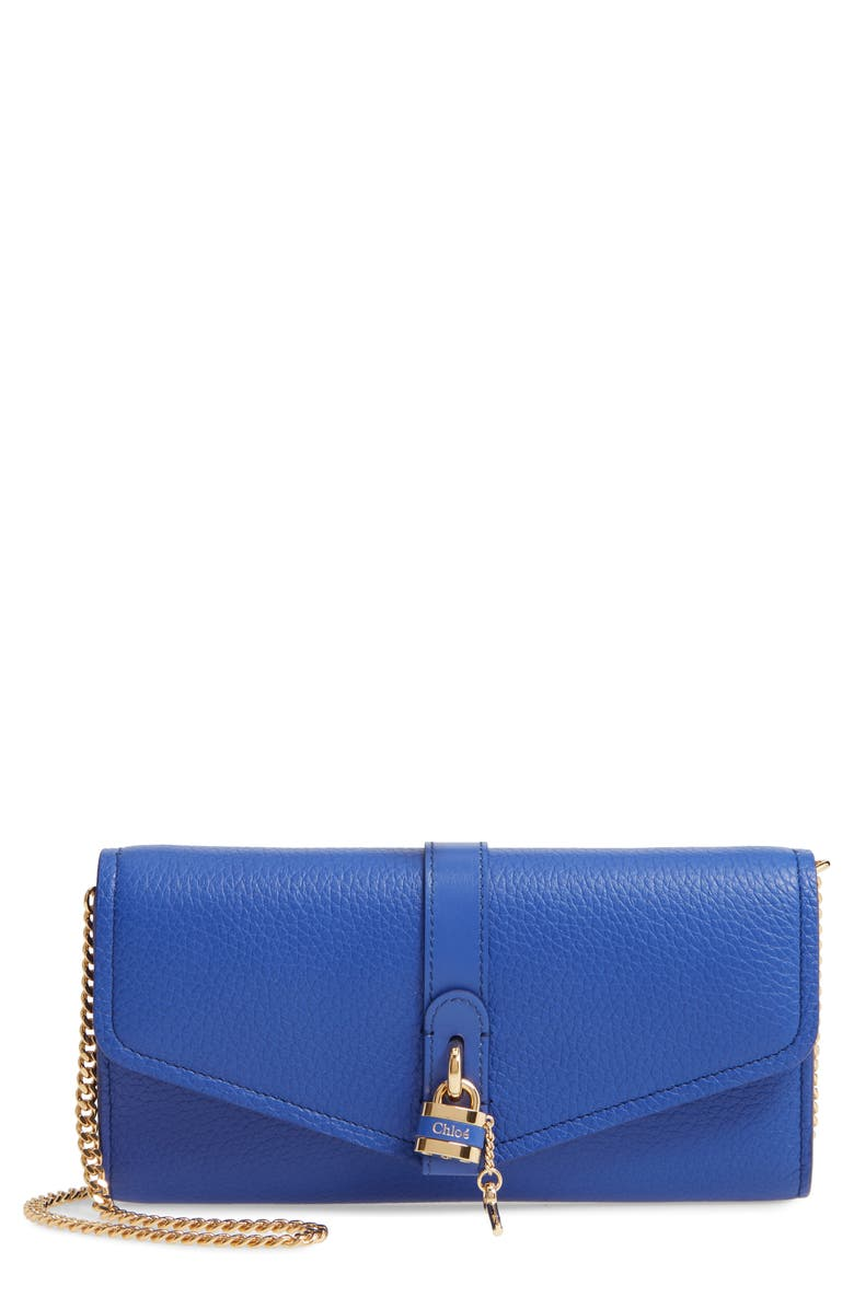 CHLOÉ Aby Long Leather Wallet on a Chain, Main, color, 401