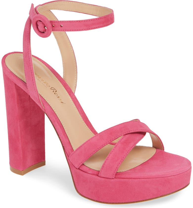 GIANVITO ROSSI Ankle Strap Platform Sandal, Main, color, FUCHSIA SUEDE