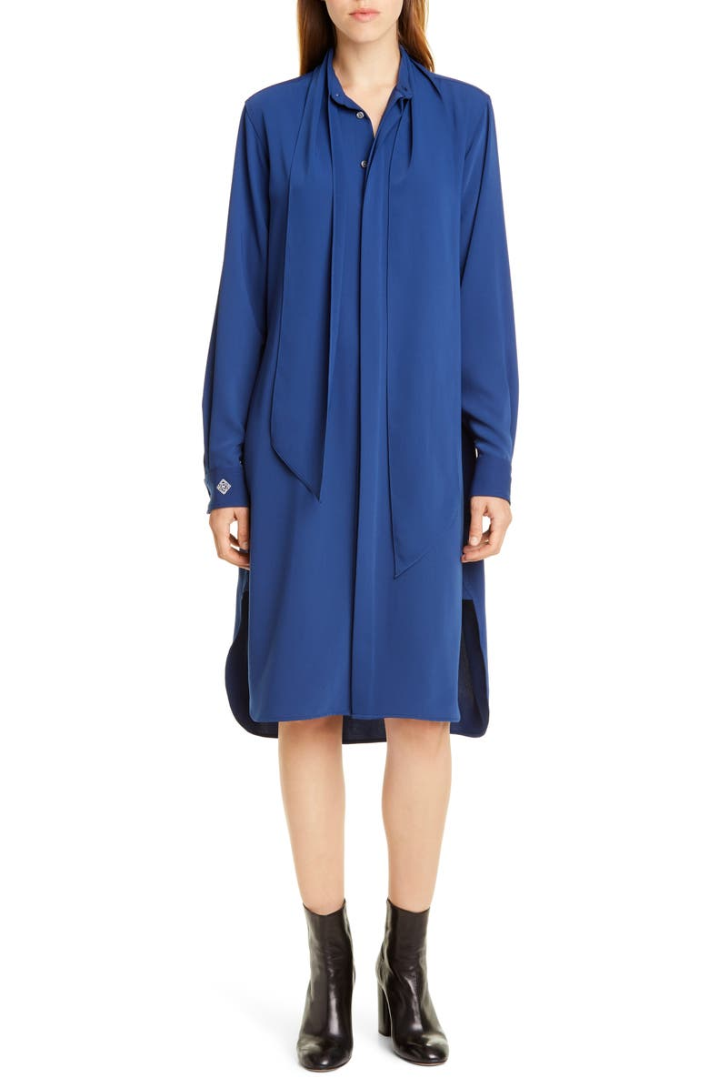 POLO RALPH LAUREN Tie Neck Long Sleeve Shirtdress, Main, color, BLUE