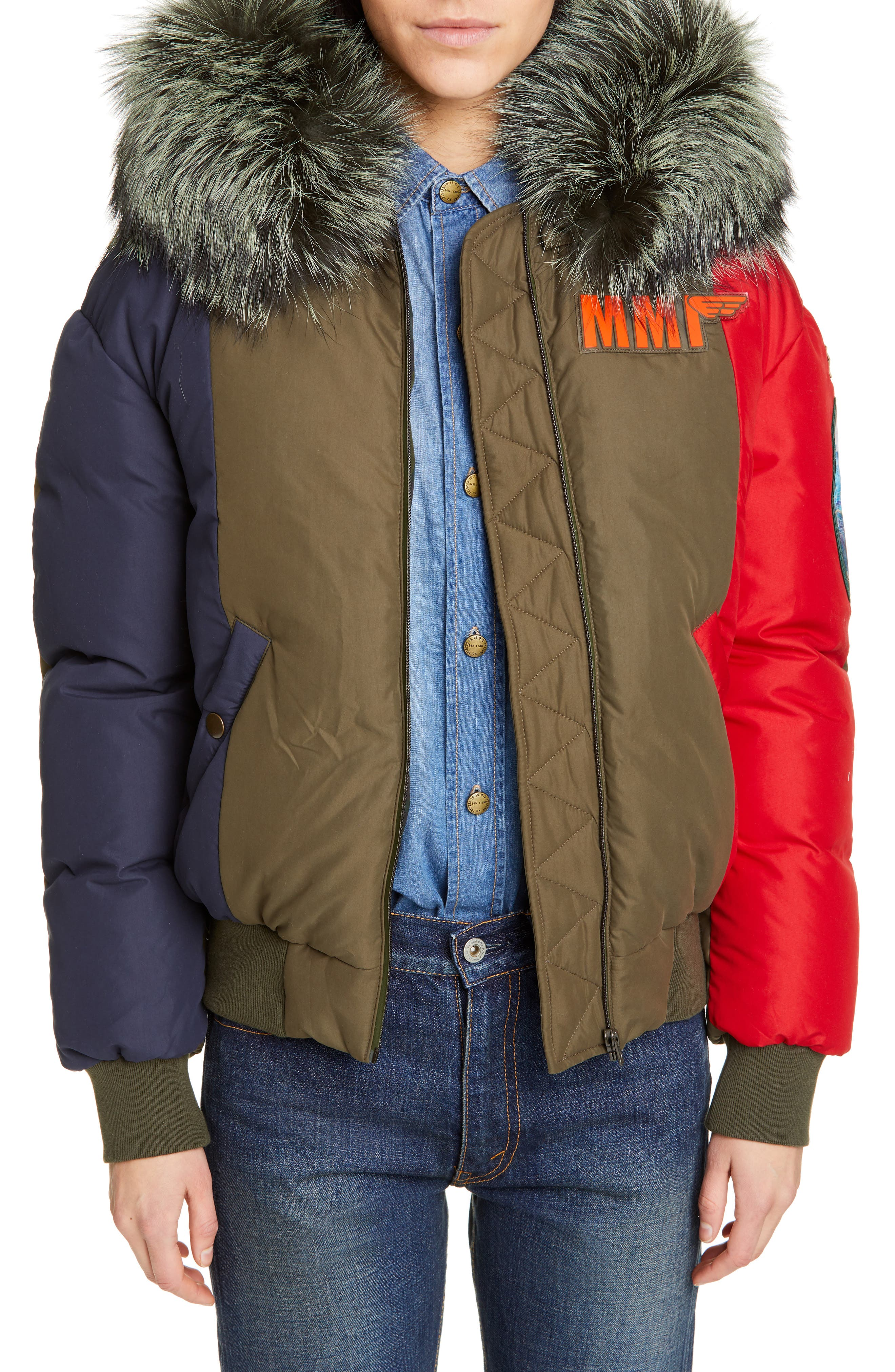 Mr And Mrs Italy Armstrong Waterproof Down Bomber Jacket With Genuine Fox Fur Trim, Red